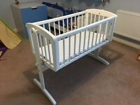Excellent condition white Mothercare crib and mattress