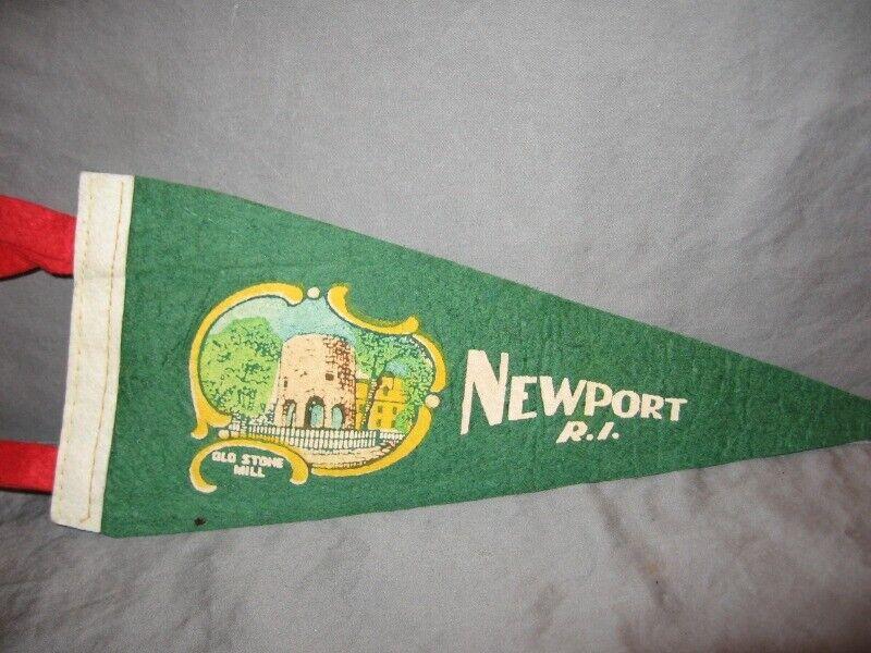 "Vintage Newport R.I. Green Felt Pennant  11 1/2"" VGC"