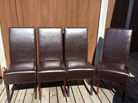 4 X dark brown high back dining chairs