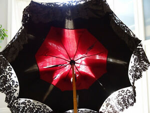 goth 1800s LACE SILK PARASOL hand painted bird FRENCH GRUNGE
