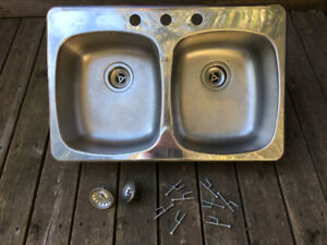 Stainless Steel Double Sink and Fittings - Used