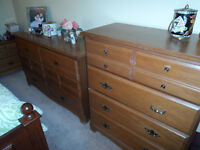 6 Drawer and 4 Drawer Dresser with 2 Night Tables
