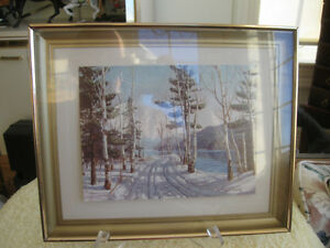 GORGEOUS OLD VINTAGE WINTER SCENE PRINT [Signed] GEO. FLETCHER W
