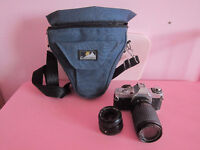 Canon AV-1 35mm SLR Film Camera with Two Lenses and Top Load Bag