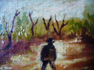 "Vintage Oil on Board ""Man Walking, From A Dream"" 1920's Stratford Kitchener Area image 7"
