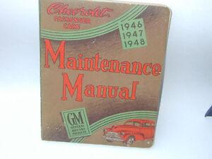 CHEVROLET PASSENGER CAR 1946 -47 -48 MAINTENCE MANUAL London Ontario image 1