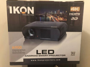 """Ikon 900 Android 4K Smart Projector With B-New  72"""" SCREEN"""