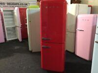 GLOSSY RED SMEG FRIDGE FREEZER FAB32 with warranty