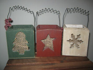 3 wooden  Country Christmas boxes