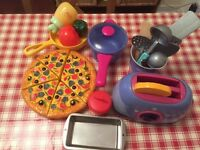 Toy kitchen pans and toaster