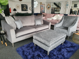 NEW Apollo Grey Velvet 3 Seater Sofa + Armchair + Footstool DELIVERY A