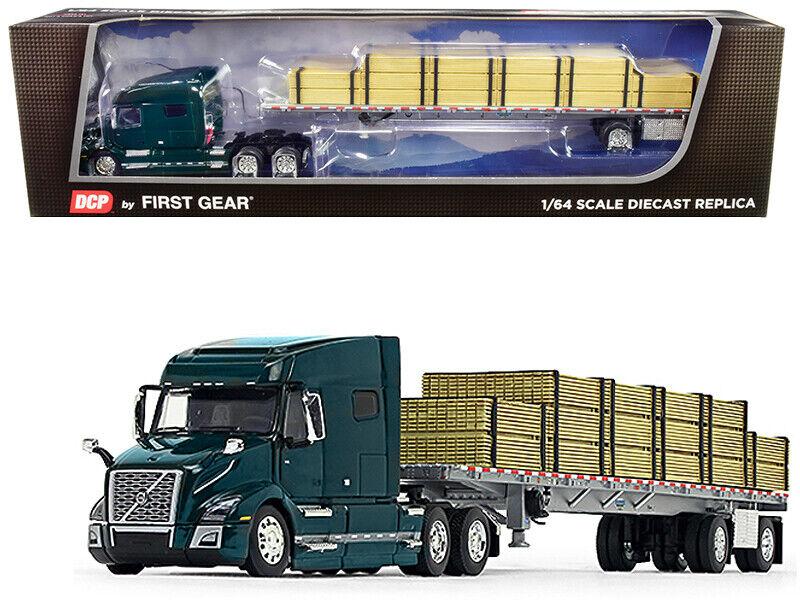 VOLVO VNL 760 W/WILSON TRAILER & LUMBER LOAD GREEN 1/64 DCP/FIRST GEAR 60-0641