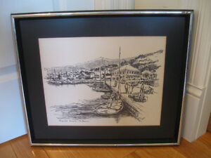 "LARGE FRAMED & MATTED PENCIL SKETCH ""ST. THOMAS"" by P. SIGAL"