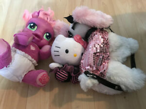 Talking pony , dog purse, doll, barbie, kitty plush