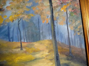 "Original Landscape Painting by H. Brown ""Enchanted Woods"" 1940's Stratford Kitchener Area image 6"