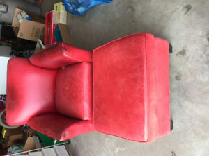Comfy red leather chair