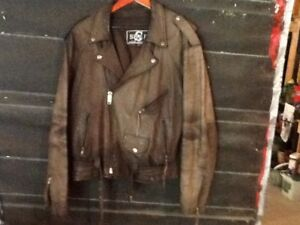 BROWN LEATHER MOTORCYCLE JACKETS (2)