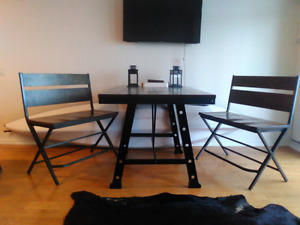 rustic / industrial  style Dinning  table with 2 benches