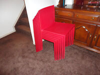6 Red Stacking Chairs ...Designed & Made In Spain..Brand New