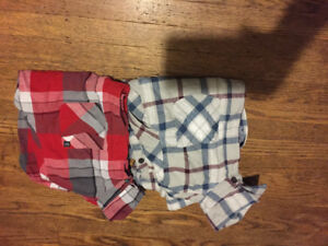 Boys jeans size 12/ large 2 button up shirts