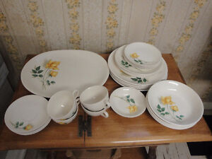 China set for 4 people, white with yellow roses