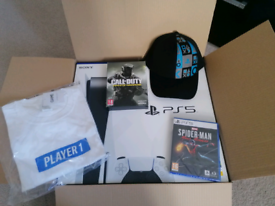 PS5 Console (Disc Edition) with controller, games, t-shirt and cap