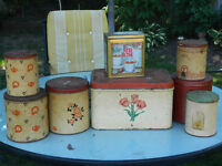 Antique Bread Box and Canisters