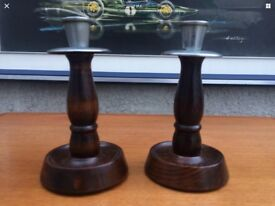 Vintage Pair Of Wooden And Chrome Topped Treen Dwarf Candles Sticks