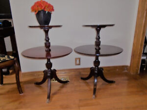 2 ANTIQUE DUNCAN PHYFE  2 TIER DUMBWAITER TABLES BRASS CLAW FOOT
