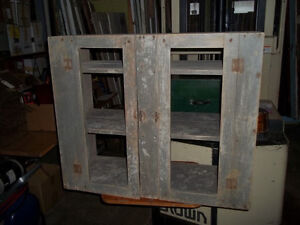 #greenspotantiques two old cupboards, shabby blue, and snowshoes
