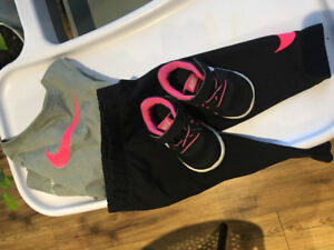 Baby Girls Nike DRI-FIT outfit with matching shoes 6-9 months