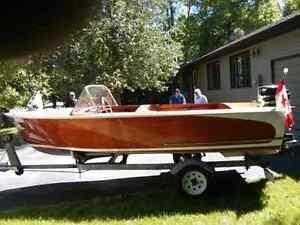 15ft Mahogany ply boat, motor and trailer