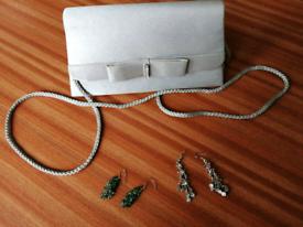 Bundle of 2 Earrings & 1 silver Clutch/Purse