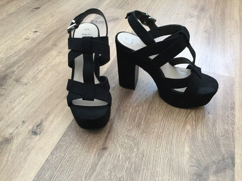 2c0d78e2aba Black Platform Suedette Sandals Size 5 Wide Fit