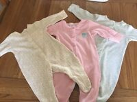 3x newborn girl babygrows