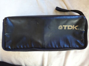 TDK Black Soft Case Fake Leather holds 15 or 18 Audio Cassettes