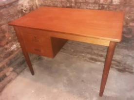 Vintage retro Danish wooden teak 60s mid century office work desk