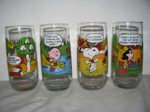 4 McDonalds 1980s Camp Snoopy Peanuts Drinking Glasses Glass