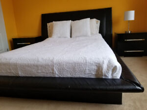 Beautiful leather platform bedroom set for sale.
