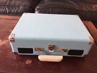 Crosley Teal Briefcase Record Player - like new