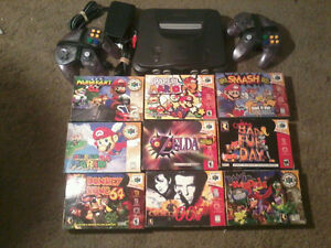 Nintendo 64 with games all in boxes