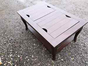 Solid wood Espresso colour coffee table.  matching side table