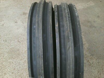 Two Front Triple Rib Tractor Tires 7.50x16 750x16 750-16 Eight Ply With Tubes