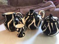 Pottery teaset in zebra pattern