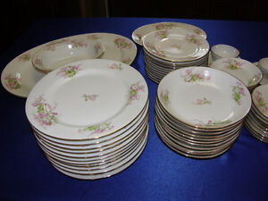 WM Guerin Limoges Large set of Dinnerware for 12 settings people