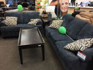 Dynasty Blue Sofa and Loveseat