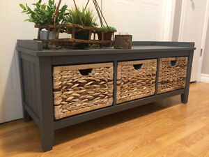 Pewter hall bench