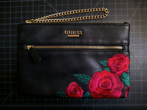 GUESS Embroidered Rose Pleather Clutch / Wristlet