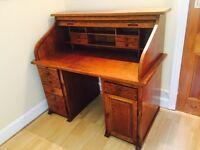 1920s Roll Top Wooden Desk