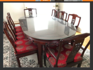 Antique Chinese rosewood dining table with 8 chairs